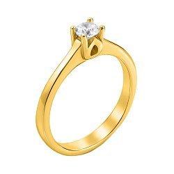 Золотое помолвочное кольцо Налита с фианитом в резном касте
