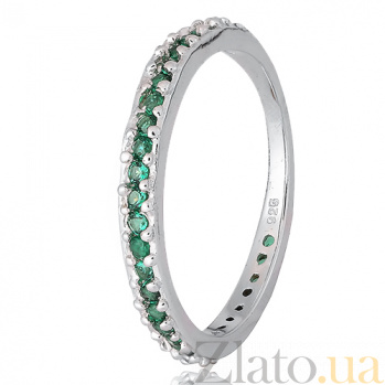 Серебряное кольцо Рувайда с зеленым цирконием 000028132