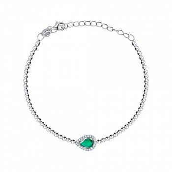 Срібний браслет зі смарагдом і фіанітами 000149236