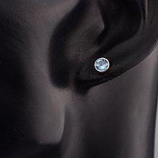 Золотые серьги-пуссеты Галатея с завальцованными темно-голубыми топазами