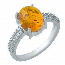 Серебряное кольцо Дэника с янтарем и фианитами