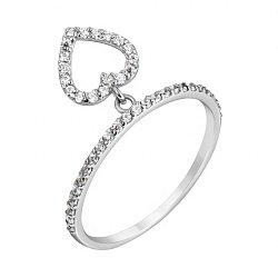 Золотое кольцо в белом цвете с подвеской в виде сердца и белым фианитами 000118740