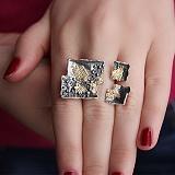 Серебряное кольцо Трикс с позолотой и чернением