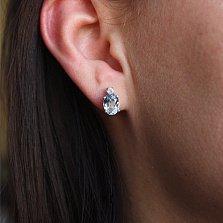 Серебряные серьги пуссеты с голубым топазом и фианитами Забвение