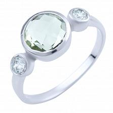 Серебряное кольцо Сумати с зеленым аметистом и фианитами
