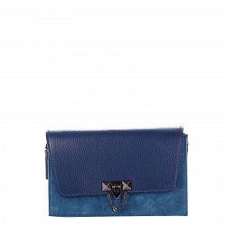 Кожаный клатч Genuine Leather 1638 синего цвета с металлическим замком и плечевым ремнем