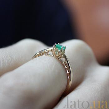 Кольцо из красного золота с изумрудом Фиби 000030088