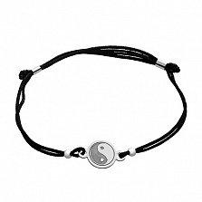 Шелковый браслет с серебряной вставкой ИньЯнь