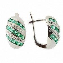 Серебряные серьги с бриллиантами и изумрудами Беатрис