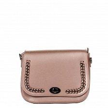 Кожаный клатч Genuine Leather 1614 темно-розового цвета с декоративной косой и механическим замком
