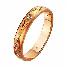 Золотое обручальное кольцо с фианитами Царство любви