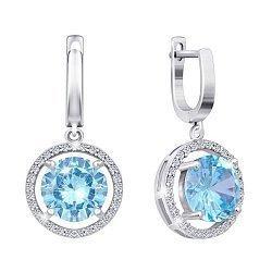 Серебряные серьги-подвески с голубыми фианитами 000029104