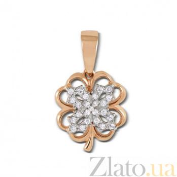 Золотой кулон Четырехлистник в комбинированном цвете с фианитами 3969