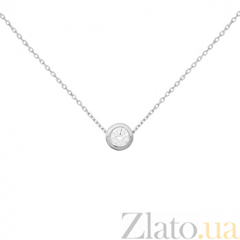 Золотое колье Юстина в белом цвете с завальцованным фианитом 000096537