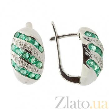 Серебряные серьги с бриллиантами и изумрудами Беатрис 000022334