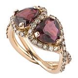 Кольцо Hausmann из розового золота с гранатами и бриллиантами