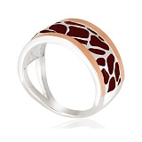 Серебряное кольцо Лео с коричневой эмалью и золотыми вставками