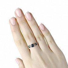 Серебряное кольцо Трио с завальцованными мистик топазами