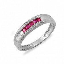 Кольцо Айседора из белого золота с бриллиантами и рубинами