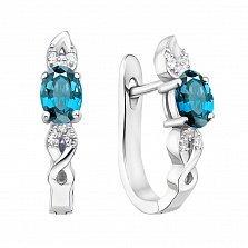 Серебряные серьги с топазами и фианитами 000133853