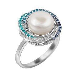 Серебряное кольцо с жемчугом, голубыми, синими и белыми фианитами 000081604