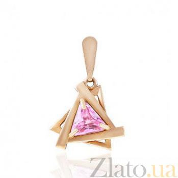 Золотой кулон Монте-Карло с розовым фианитом EDM--П033Р
