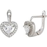 Серебряные сережки с цирконием Love you