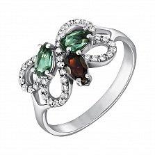 Серебряное кольцо Агния с гранатом, зеленым кварцем и фианитами