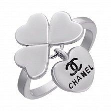 Серебряное кольцо Любимый клевер с подвеской-сердцем в стиле Шанель