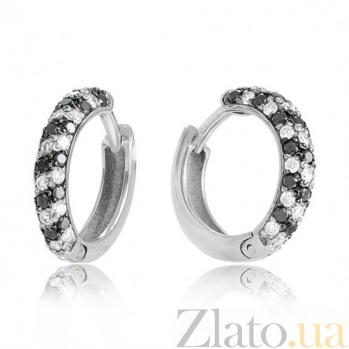 Золотые серьги Бриллиантовая россыпь с черными и белыми бриллиантами EDM--С7422/1ЧЕРН
