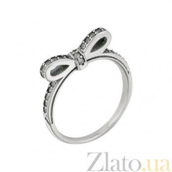 Серебряное кольцо Бантик с кристаллами циркония 000081608
