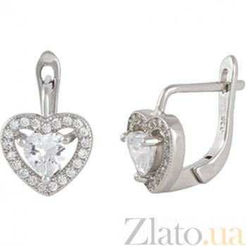 Серебряные сережки с цирконием Love you SLX--СК2Ф/474
