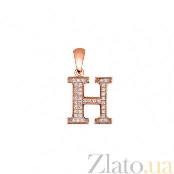 Золотая подвеска Буква Н с фианитами VLT--ЕЕ3549-Н