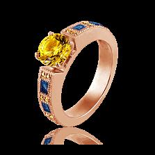 Эксклюзивное женское кольцо Виктория с цитринами и топазами