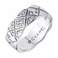 Серебряное кольцо Простой орнамент с широкой шинкой и фианитами в стиле Шанель