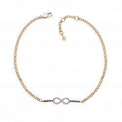 Золотой браслет в комбинированном цвете с коньячными и белыми бриллиантами 000125343