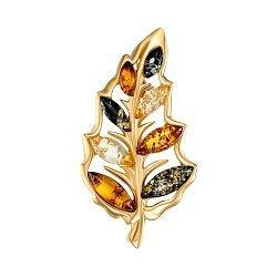 Серебряная брошь с янтарем и позолотой 000137619