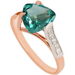 Золотое кольцо Ингеборга с синтезированным аметистом и фианитами 000027258