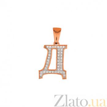 Золотая подвеска Буква Д VLT--ЕЕ3549-Д