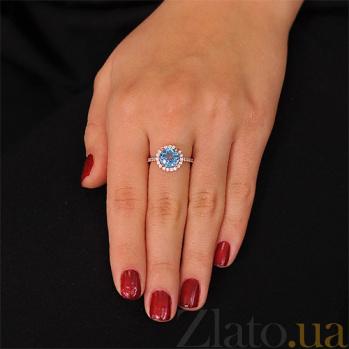 Золотое кольцо София с голубым топазом и фианитами EDM--КД4039ТОПАЗ