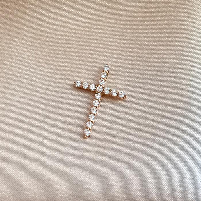 Декоративный крестик из красного золота с фианитами 000141696 000141696
