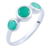 Серебряное кольцо Амрит с изумрудами
