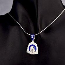 Серебряная ладанка Божья Матерь и Сын с синей и белой эмалью
