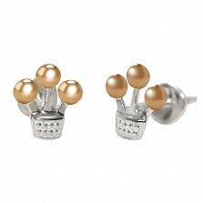 Серебряные серьги Маленькая корона с золотыми вставками