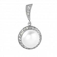 Серебряный кулон Миллина с белой жемчужиной и фианитами