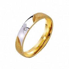 Золотое обручальное кольцо Любовный талисман с фианитом
