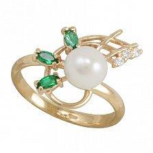 Золотое кольцо Вирджини с синтезированными изумрудами, жемчугом и фианитами