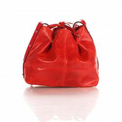 Кожаный клатч-мешок Genuine Leather 1678 цвета бархатный красный с плечевым ремнем