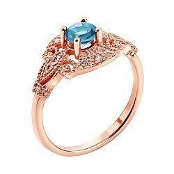 Кольцо в красном золоте Натали с голубым топазом и фианитами