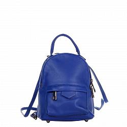 Кожаный рюкзак Genuine Leather 8002 ярко-синего цвета с накладным карманом на молнии